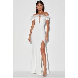 NEW Lulu's White Feather OTS Maxi Gown Dress